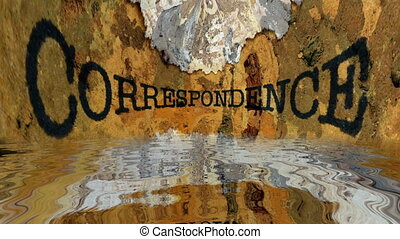 Correspondence grunge text reflecting in water