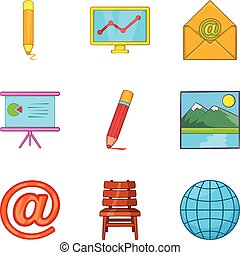 Correspondence icons set, cartoon style