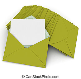 Correspondence in green - 3D rendering of an open envelope ...