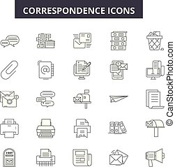 Correspondence line icons for web and mobile design. ...