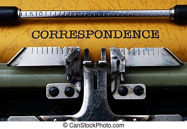 Correspondence text on typewriter