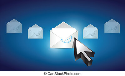 correspondencia, azul, seleccionado, sobre, email
