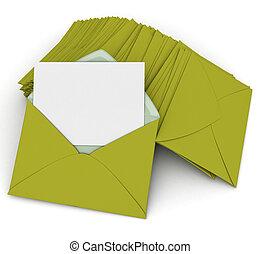correspondencia, en, verde