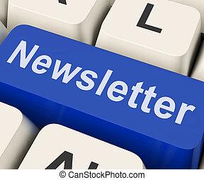 correspondencia, llave, carta, noticias en línea, newsletter, o, exposiciones