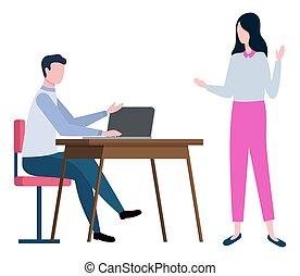 corretores, homem, tabela, sentando, mulher, caderno