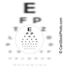 correttivo, contatto, lense, fuochi, occhio, lettere, chiaramente