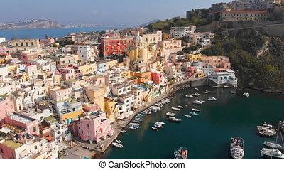 corriccella, 공중선, procida, 보이는 상태, 마을, 나폴리, 섬, 어부, 이탈리아