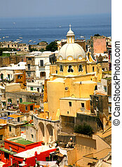 corricella, closeup, igreja, -, procida, bonito, ilha, em,...