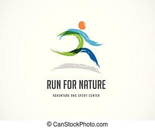 corrida, ícone, símbolo, maratona, cartaz, e, logotipo