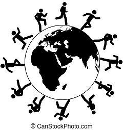 corrida, ao redor, pessoas, símbolo, global, internacional,...