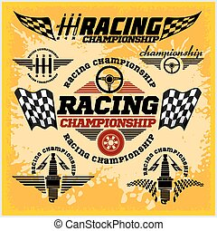 corrida carro, emblemas, e, campeonato, raça, vetorial,...