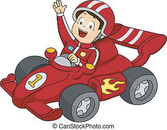 corrida carro, menino