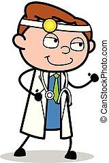 corrida, doutor, -, ilustração, vetorial, pronto, profissional, caricatura