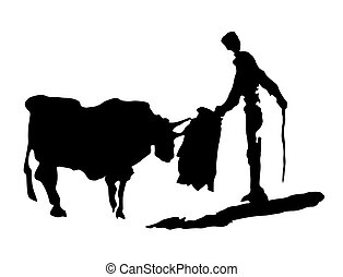 Corrida - Torreador with bull. Black and white graphic on...