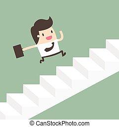 corrida homem negócios, cima, growth., escadas.