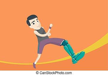 corrida homem, perna artificial