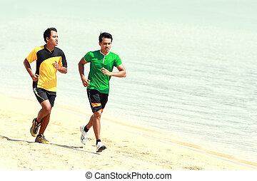 corrida homem, praia