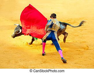 Corrida. Matador Fighting in a typical Spanish Bullfight