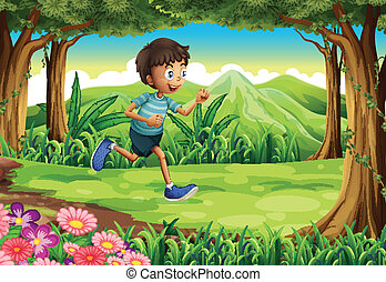 corrida menino, selva