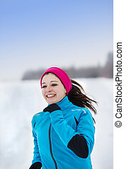 corrida mulher, em, inverno