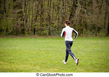 corrida mulher, em, natureza