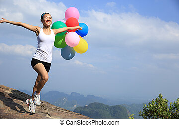 corrida mulher, jovem, asiático