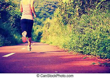 corrida mulher, jovem, condicão física