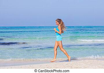 corrida mulher, ligado, praia