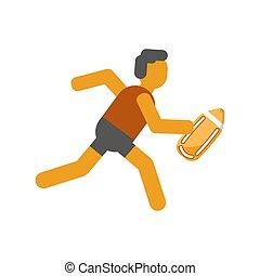 corrida pessoa, com, segurança, amarela, tábua, isolado,...