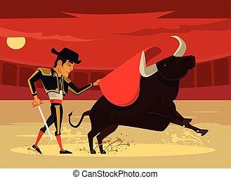 corrida., spanyolország, vektor, karikatúra, lakás