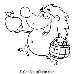 corridas, feliz, maçã, ouriço