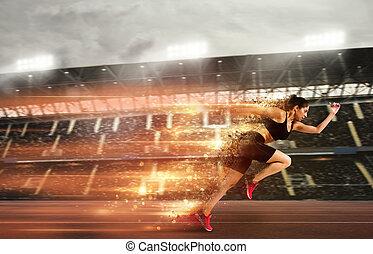 corridas, mulher, estádio, raça