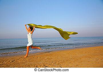 corridas, tecido, mantô, jovem, amarela, borda, mar, mãos,...