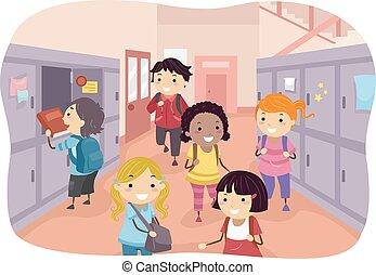 corridoio, bambini scuola, stickman