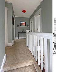 corridoio, carpet., grigio, ringhiera, baige, bianco