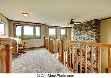 corridoio, casa pietra, legno, railing., caminetto