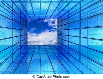corridoio, finestra, futuro