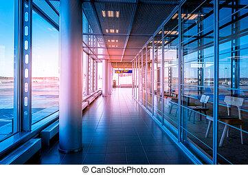 corridoio, in, costruzione, con, vetro