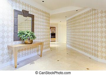 corridoio, in, uno, lusso, casa