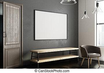 corridoio, moderno, vuoto, manifesto