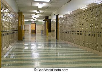 corridoio, scuola, vuoto