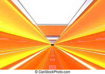 Corridor - A 3D rendered architecture interior of a tunnel.