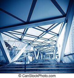 Corridor - blue tone of long corridor in hospital.