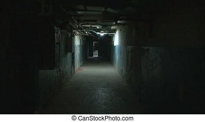 Dark corridor tracking shot