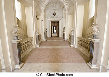 Empty museum in Rome.