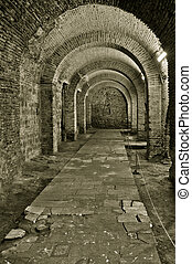 Corridor in a castle  black and white