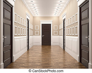 corridor in classical style. 3d illustration