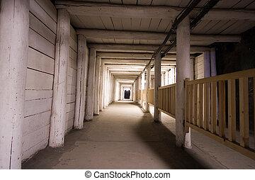 Corridor in salt mine