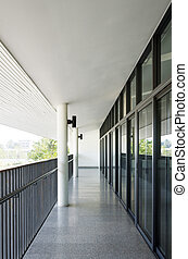 Corridor in the modern building.
