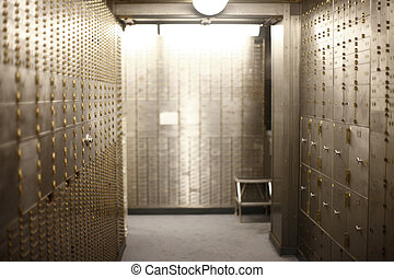 Corridor of safe deposit boxes - A corridor of safe deposit...